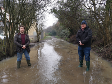 Liam Harries and David Bebbington along one of the flooded paths