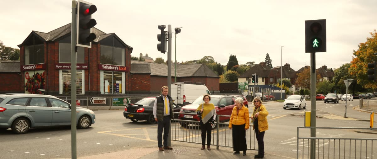 Richard looking at the Bat and Ball junction with Sevenoaks Town and District Councillors (Sevenoaks Lib Dems)